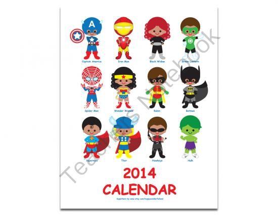 Printable Digital PDF File - 2014 Calendar Superhero - 1.2 from ...