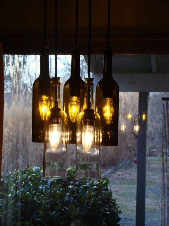 Wine bottle light fixture for the house pinterest - Wine bottle light fixture chandelier ...