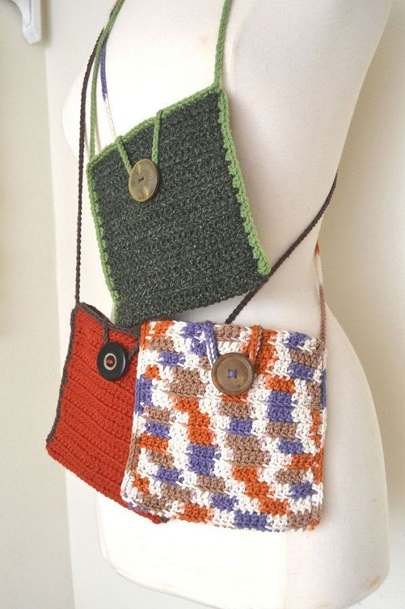 Small Cross Body Bag Crochet Long Shoulder Strap Purse Soft Yarn Hand ...