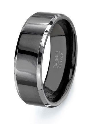 Mens Wedding Band, Black Tungsten Ring - HIGH QUALITY Mens Tungsten ...