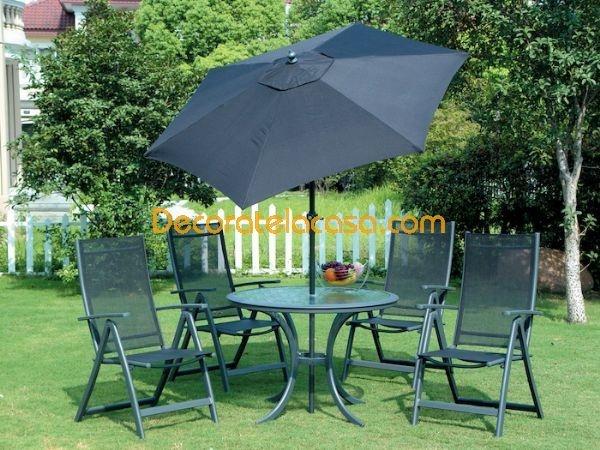 Mesa y sillas de jardin con sombrilla jardineria pinterest for Sillas comedor jardin