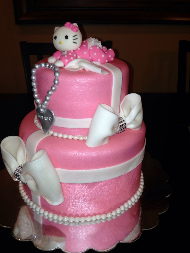 hello kitty baby shower cakes