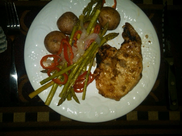 Grilled pork chop marinated with Lea and Perrin's steak sauce ...