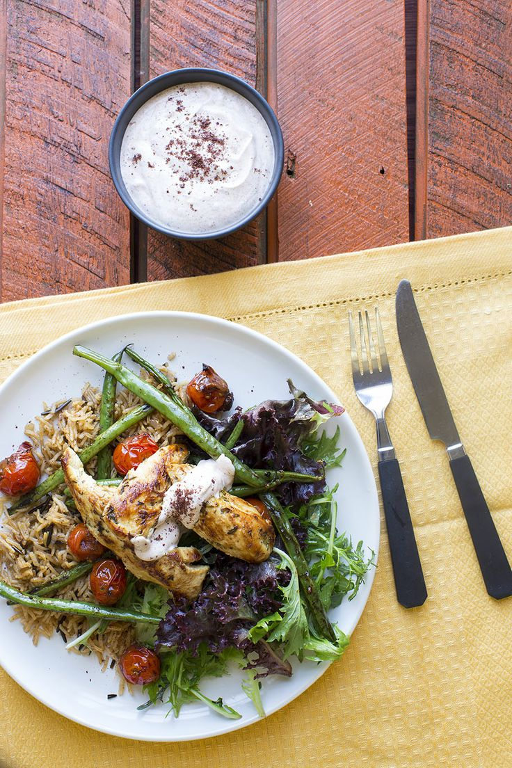 Herb Marinated Chicken with Pilaf, Tomatoes, Beans and Sumac Yoghurt