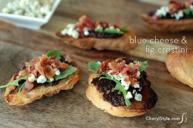 Fig jam crostini with bacon and blue cheese - CherylStyle