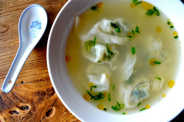 Simple Wonton Soup. The pork wontons are full of chopped baby bok choy ...