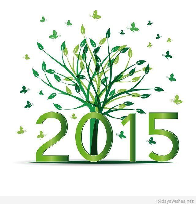 Happy new year 2015 flowers art