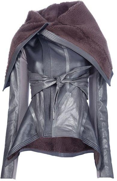 RICK OWENS Draped Lambskin Jacket v