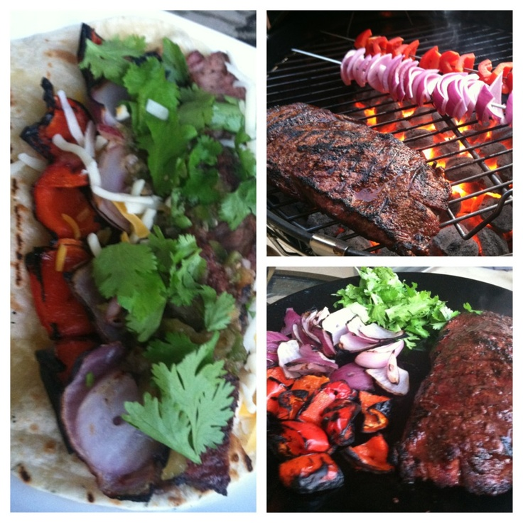 flank steak, red pepper, onion, fresh cilantro & grilled flour ...