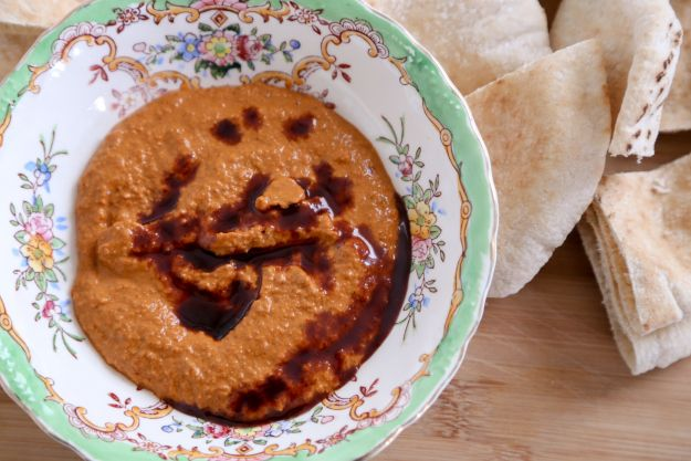 Quick and easy roasted red pepper and walnut dip/spread, also known as ...