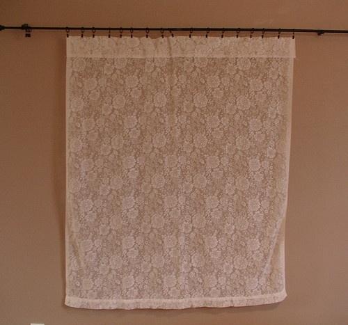Vintage curtain picture window door treatment lace victorian flower 59