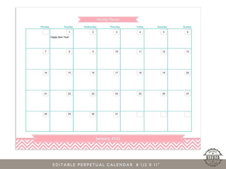 Editable Monthly Calendar Planner Grid, Printable PDF, 8 1/2 x 11 inch ...
