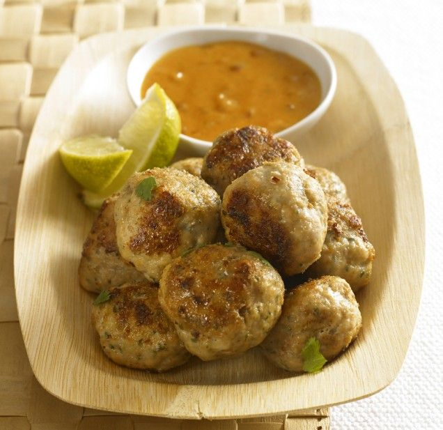 Asian meatballs with peanut sauce. Would be great served over egg ...