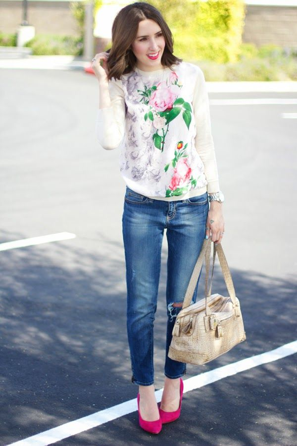 floral sweater | ripped jeans