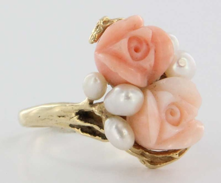 Vintage 14 Karat Yellow Gold Carved Coral Freshwater Pearl Rose Flower Ring