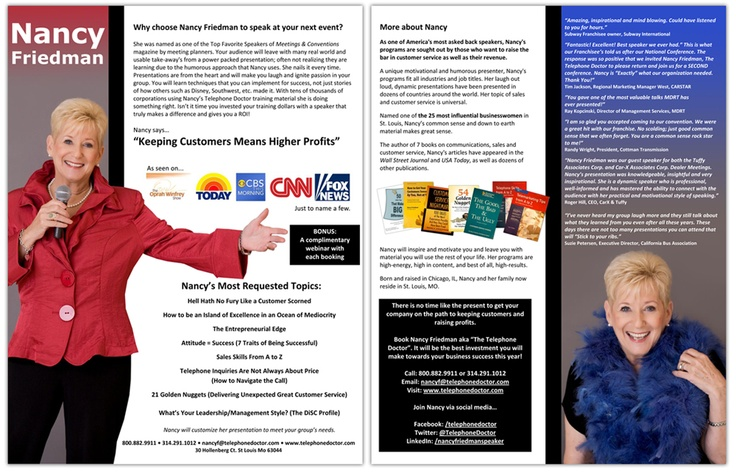 Professional Speakers-one sheet and graphic design services