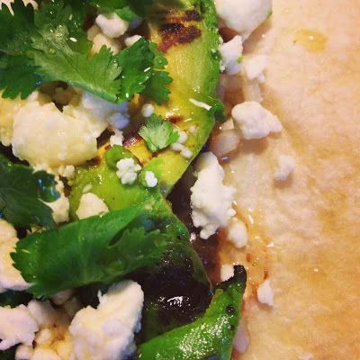 Grilled Avocado Tacos- avocado, black beans, brown rice, goat cheese ...
