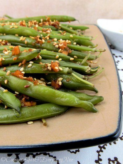 Sesame Garlic Ginger Green Beans by Cinnamon Spice and Everything Nice