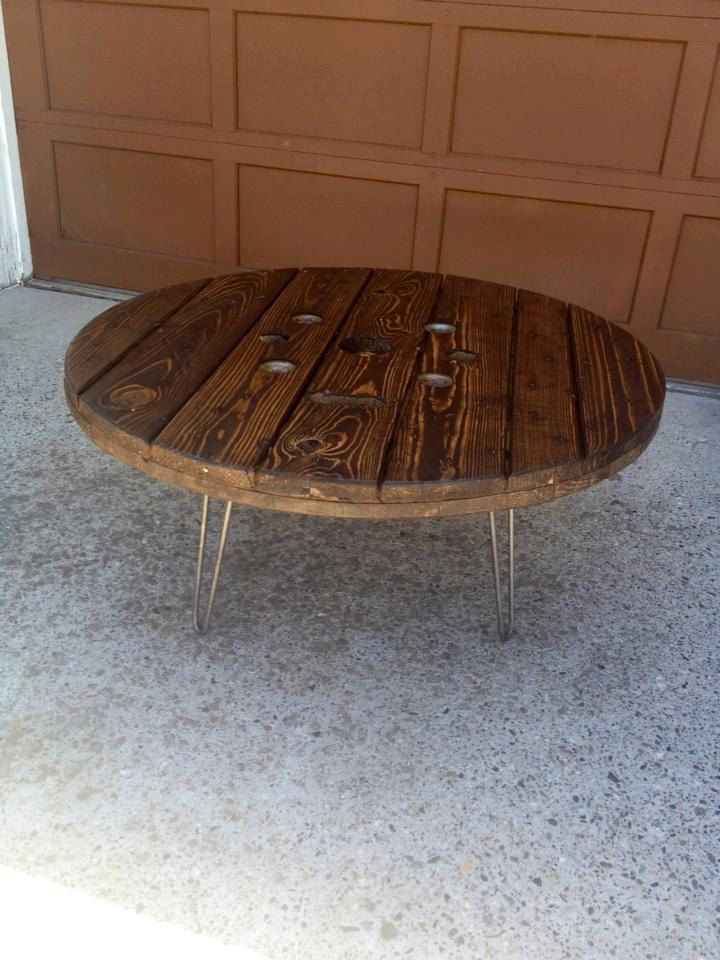 Upcycled Wooden Spool Coffee Table