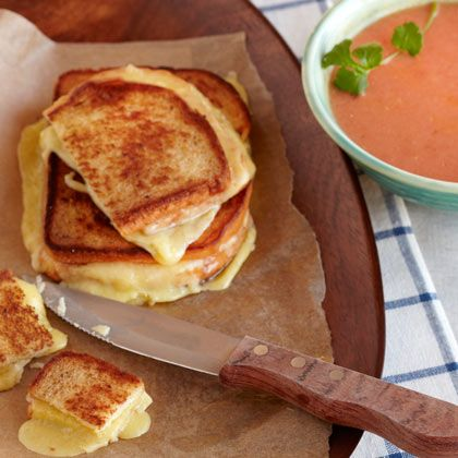 Tomato Soup with Grilled Cheese Croutons | Spoonful