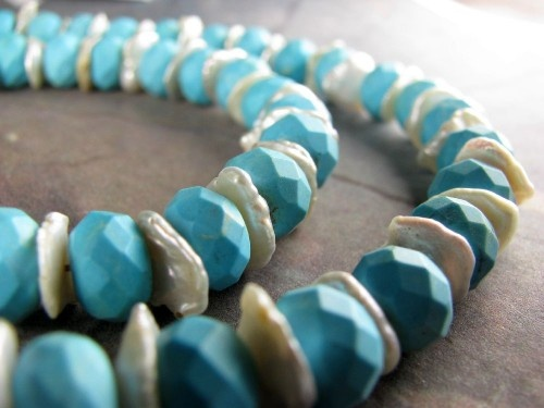 Turquoise & Keshi Pearls Necklace