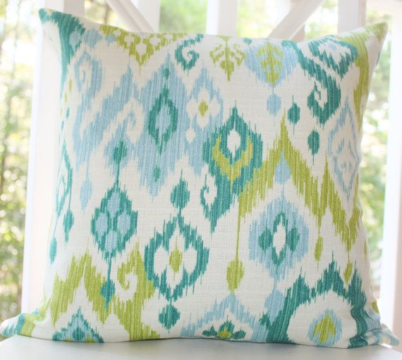 Baby Blue Decorative Pillow : Decorative Pillow Ikat Baby Blue Turquoise Teal Chartreuse Green Ivor?