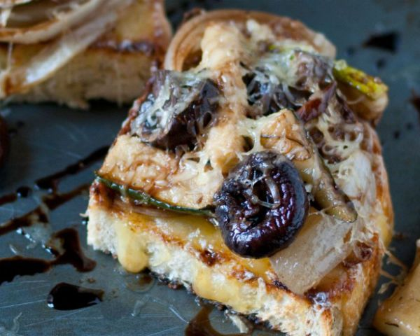... Food: Balsamic Roasted Mushroom and Zucchini French Bread Pizza