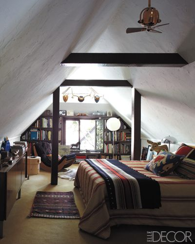 designer steven johanknecht's converted attic, los angeles (photo by william abranowicz for elle decor)