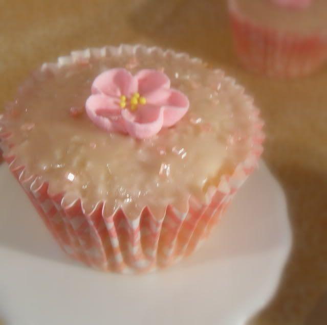 Vanilla Buttermilk Cupcakes with a Framboise Glaze - So pretty!
