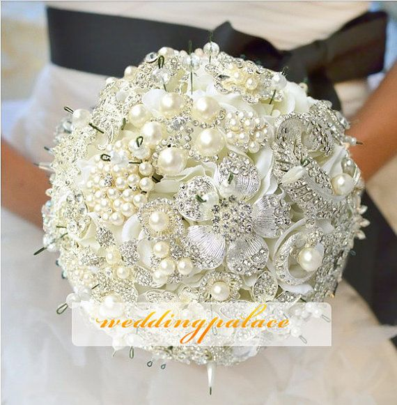 Bridal Flowers With Bling : Bling pearl flower wedding bouquet bridal