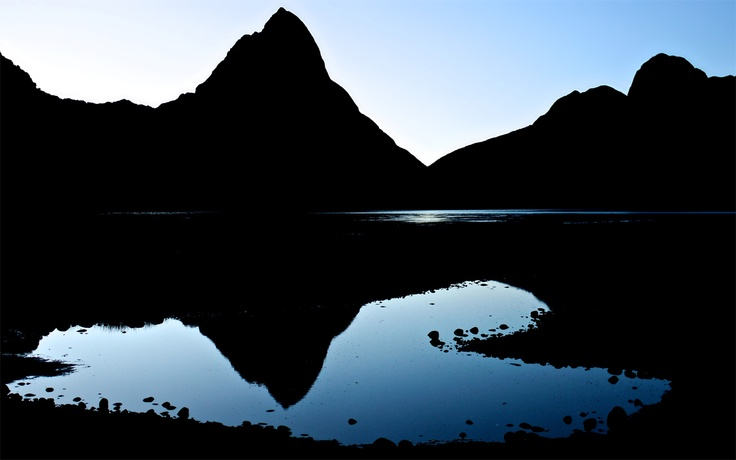 """""""Morning Heart"""" -- #wallpaper by """"s1Mon.at"""" from http://interfacelift.com -- Seeing the first light of a wonderful day reflected in a heart-shaped pond makes for a pretty good start. The picture was taken at Milford Sound, Fjordlands, New Zealand, on a chilly autumn morning. For a place that gets roughly 360 rainy days a year, I turned out to be pretty lucky!    Lumix DMC G1, Lumix G Vario 14-45 mm f/3.5-5.6 ASPH Mega OIS."""