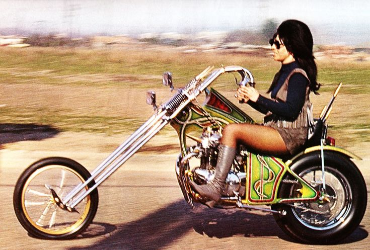 Vintage Chopper Motorcycle. Metal Flake Maiden. The most retro picture in the known universe :)