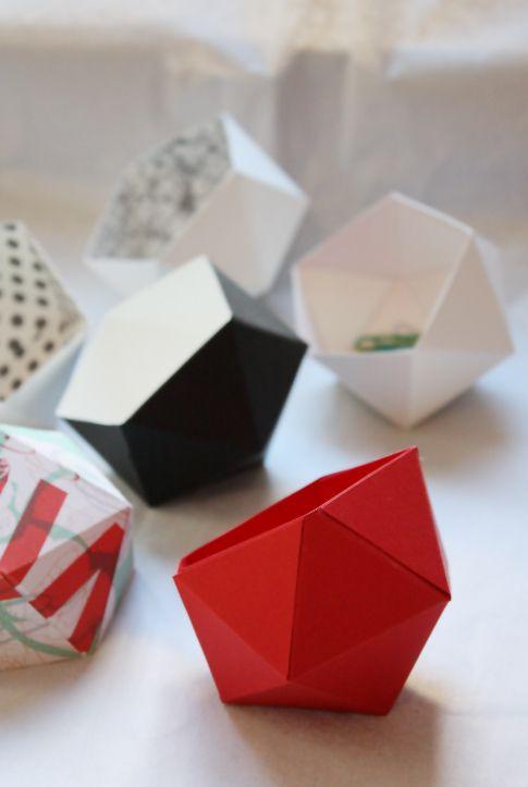 Via Philuko | DIY Geometric Papier Bowls | Tutorial: http://philuko.blogspot.de/2011/12/diy-geometrische-papierschalen.html