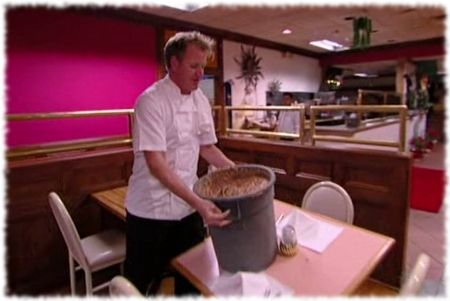 gordon ramsay breaks a table with a heavy bin of nasty refried beans