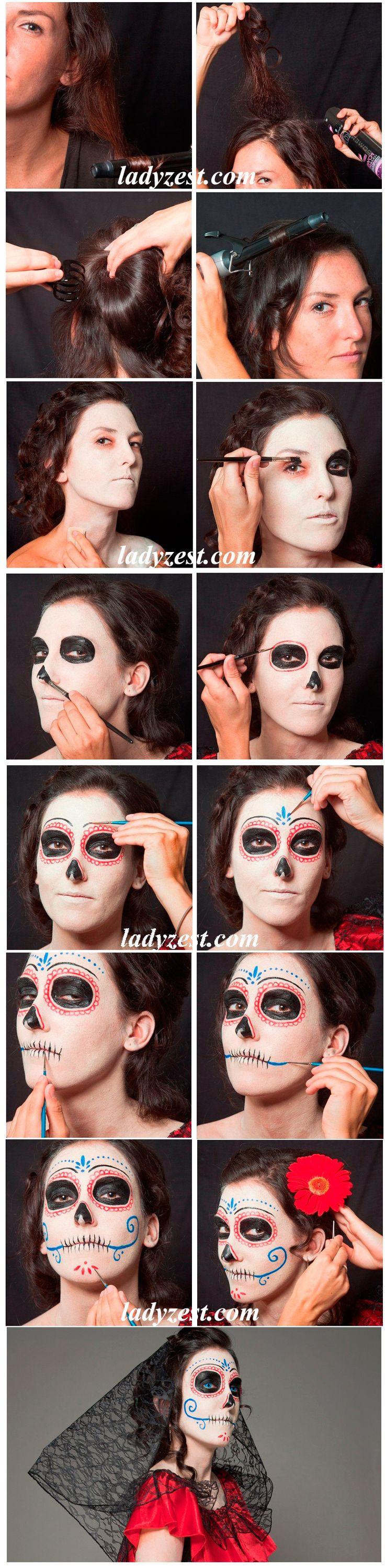 Макияж на хэллоуин для девушек своими руками фото пошагово 3