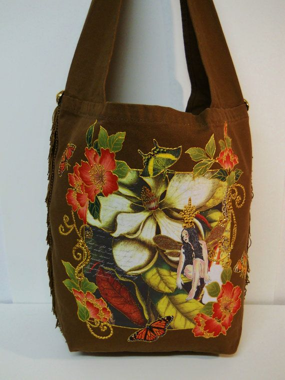Fantasy Brown Canvas Tote Bag Hand Painted Fabric Applique Design by paulagsell, $92.00