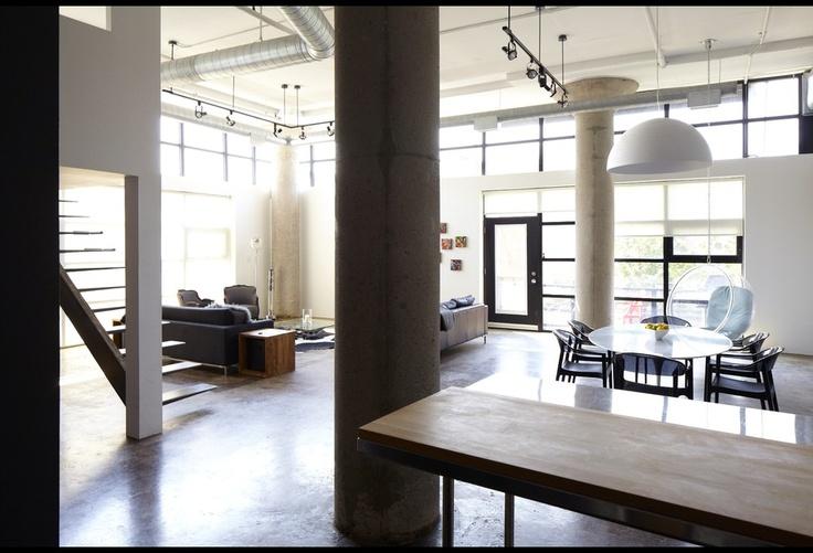 Open concept loft design via four houses canada for Open concept loft