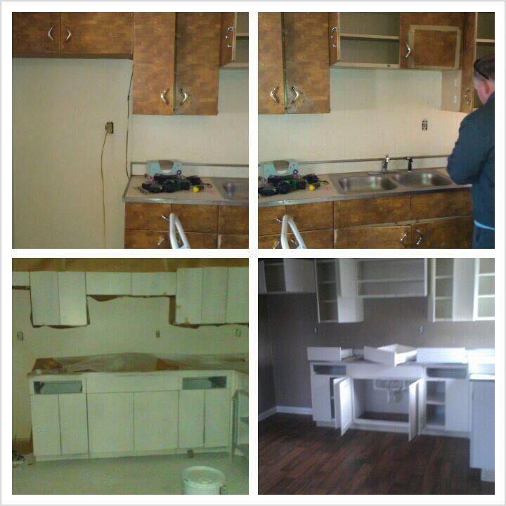 Refinishing metal cabinets   Kitchen cabinets and stuff