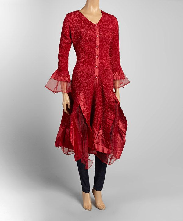 Look at this Jerry T Fashion Red Duster - Women & Plus on #zulily