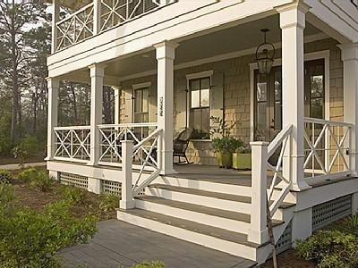 FL lake house inspired by Something's Gotta Give beach house. From Hooked on Houses. Sleeping porch above porch.