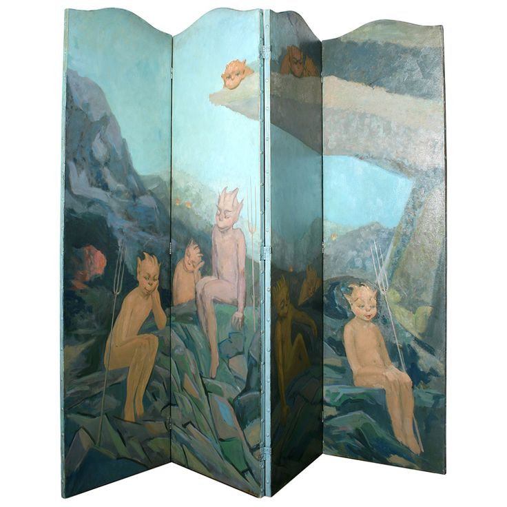 Art Deco Four Paneled Demons and Angels  Fantasy Screen