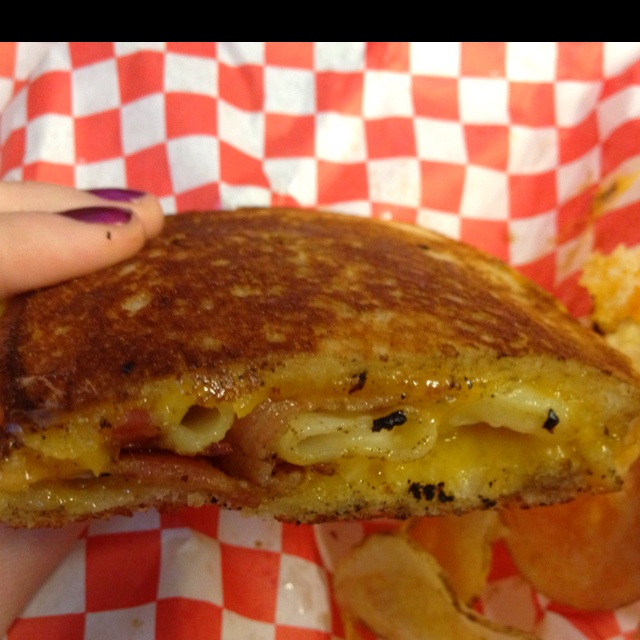 Tillamook cheddar grilled cheese with mac & cheese and bacon inside ...