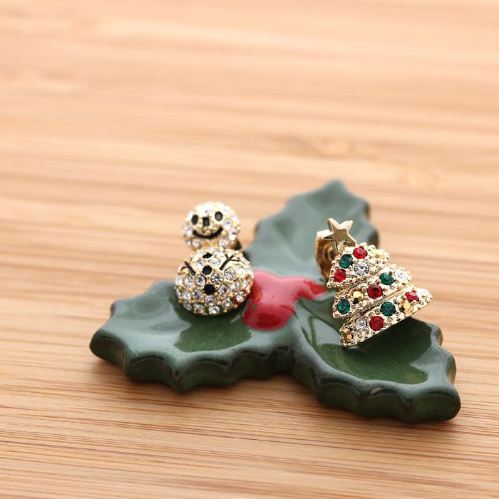 Tree and snowman stud earrings with crystals christmas