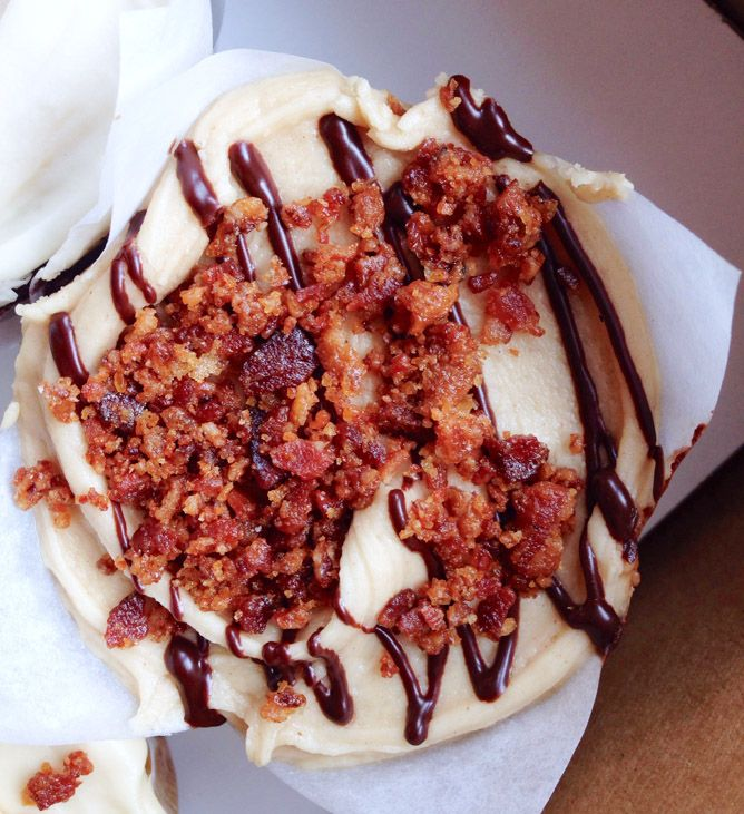 . That would be a cupcake with peanut butter and chocolate and bacon ...