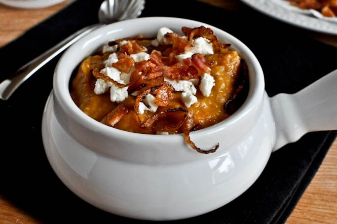 Loaded baked sweet potato soup, with bacon and goat cheese and ...