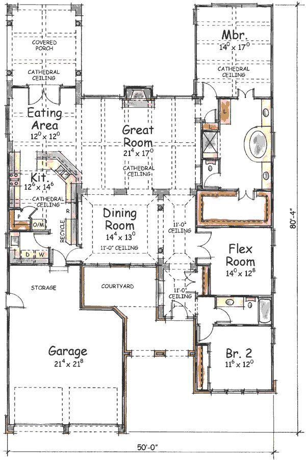 Three styles to choose for Narrow lot house plans with courtyard
