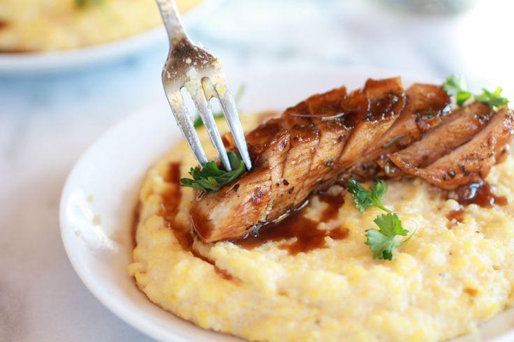 ... Glazed Chicken with Creamy Goat Cheese Polenta - Half Baked Harvest
