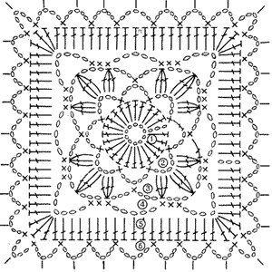 Схемы для вязания крючком квадратный мотив 560