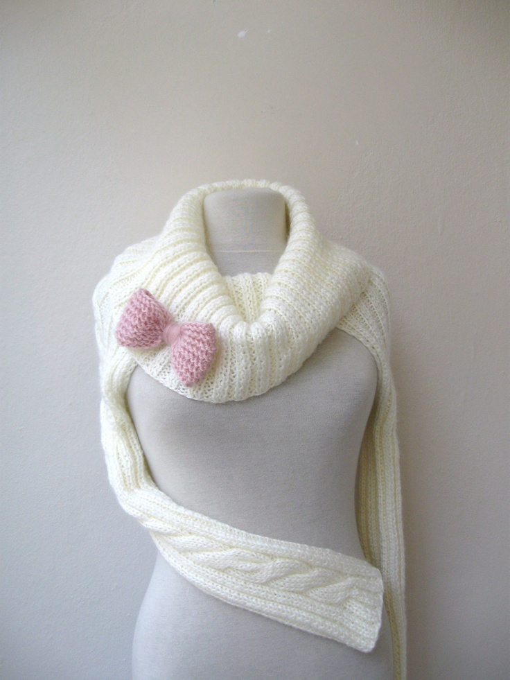 Knit Turtleneck Shrug-cable pattern-ivory mohair-long ...
