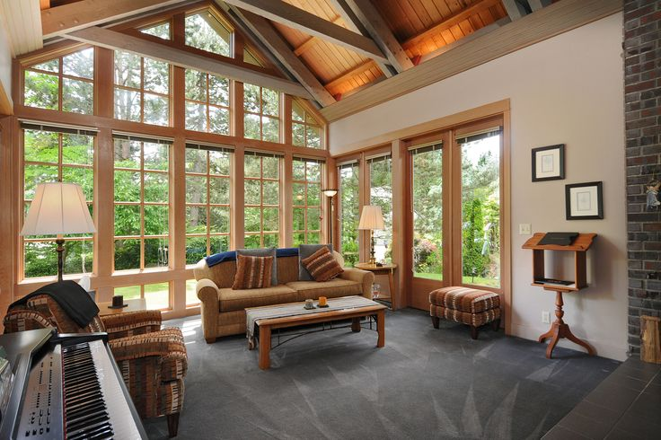 Love white walls with wood trim also like this style of for Pacific northwest home designs